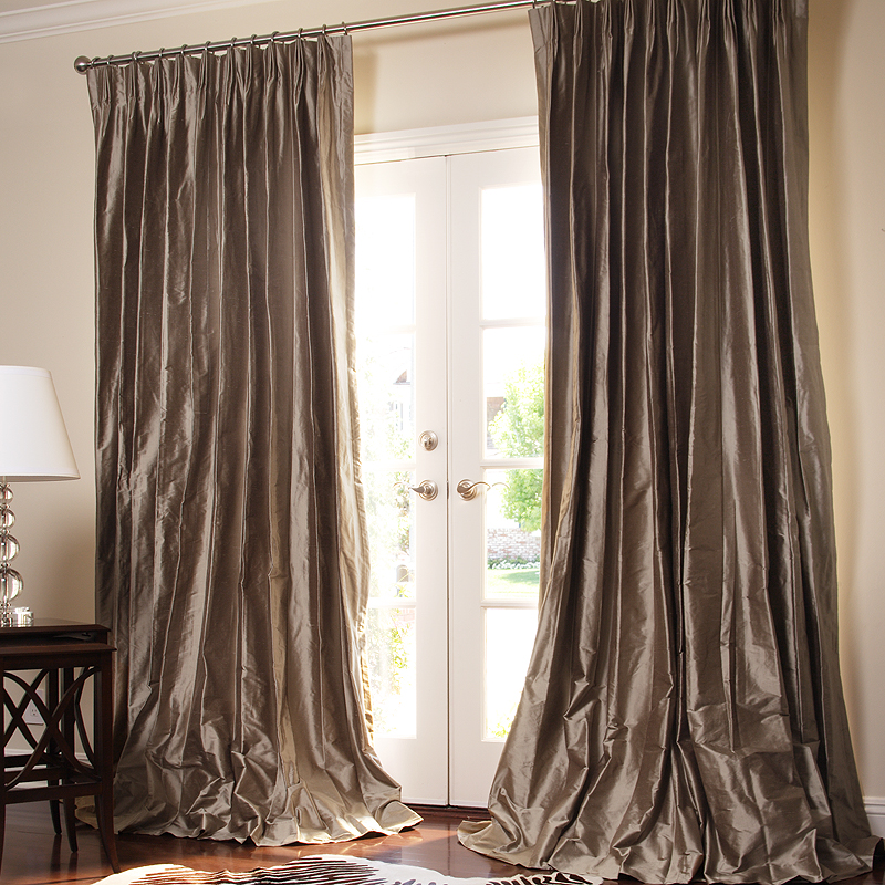 Shown:  Solid Silk Drapes in Pewter